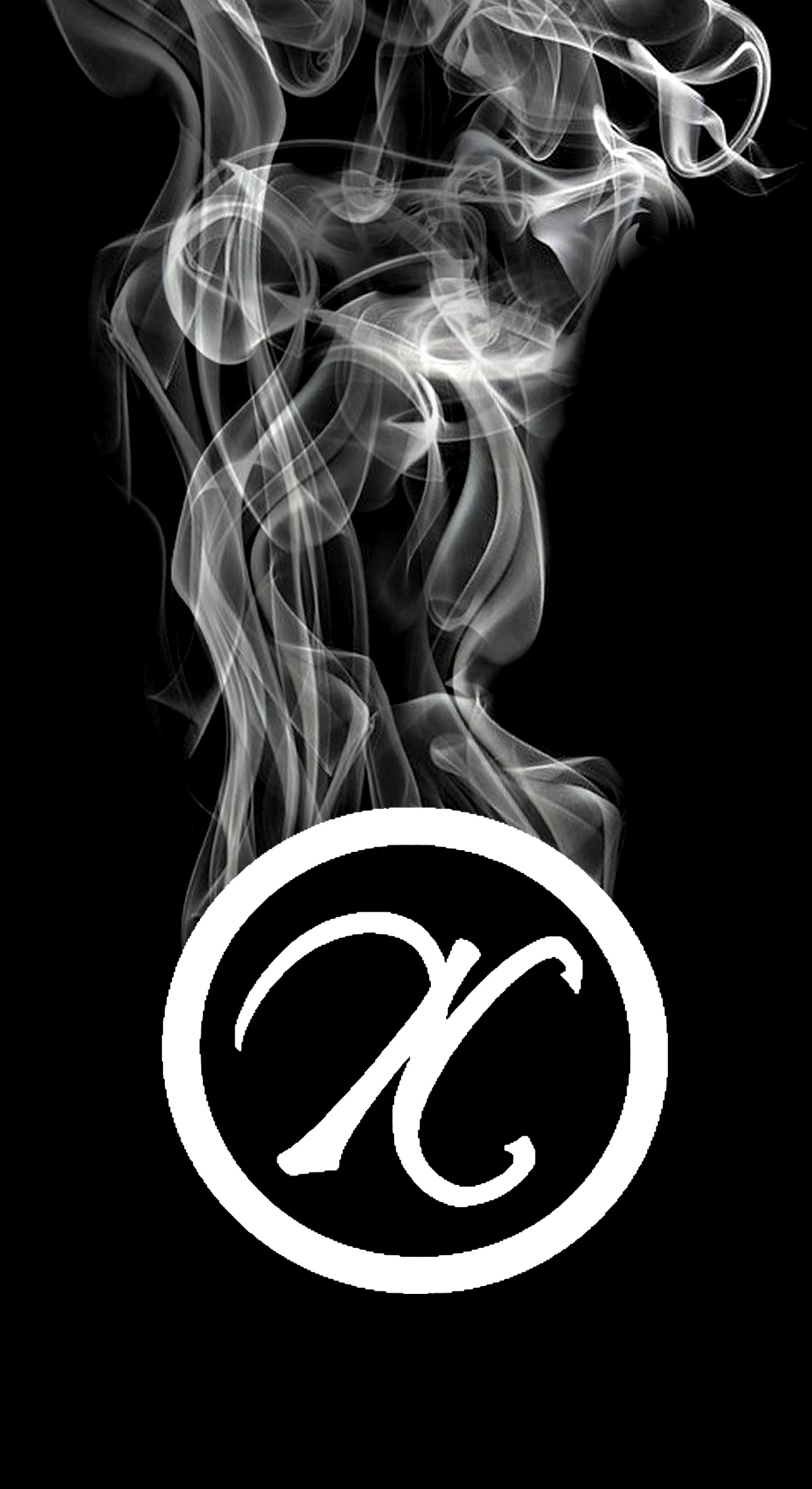 Nika Cherrelle's logo, a sylized N in a circle, with smoke pouring off the top