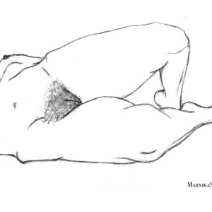 nude drawing of a female pelvis and legs by Marnika Shelton