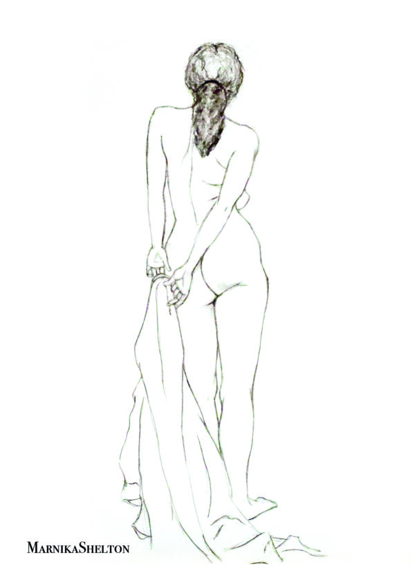 standing nude from behind, drawing by marnika shelton